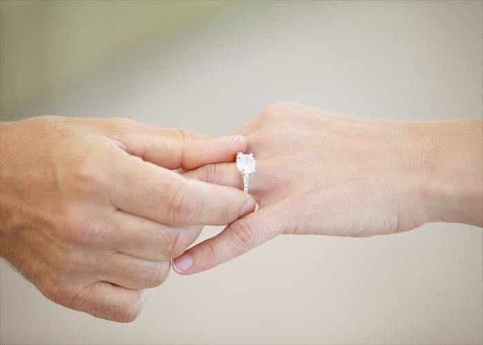 Cropped view of a man's hand sliding a wedding ring onto a woman's ring finger