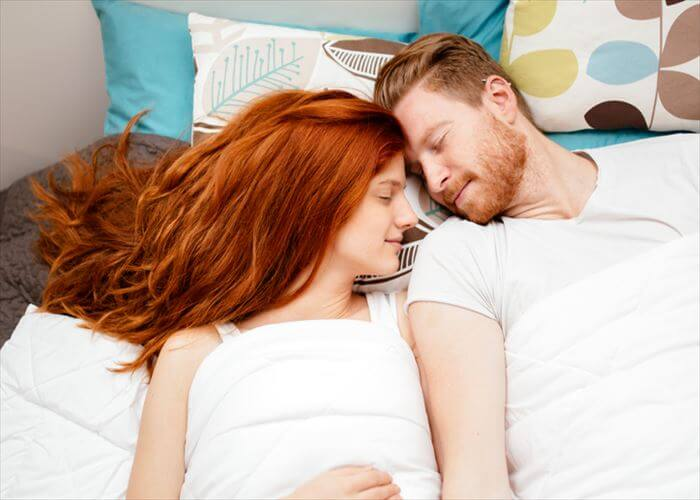Beautiful couple sleeping and being cute